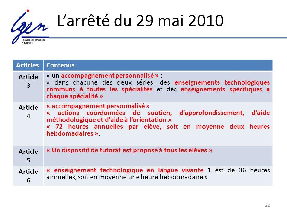 22 Larrêté du 29 mai 2010 ArticlesContenus Article 3 « un accompagnement personnalisé » ; « dans chacune des deux séries, des enseignements technologi