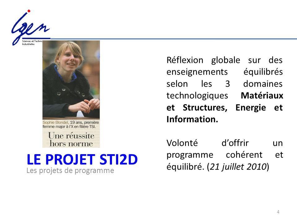 4 LE PROJET STI2D Les projets de programme Réflexion globale sur des enseignements équilibrés selon les 3 domaines technologiques Matériaux et Structu