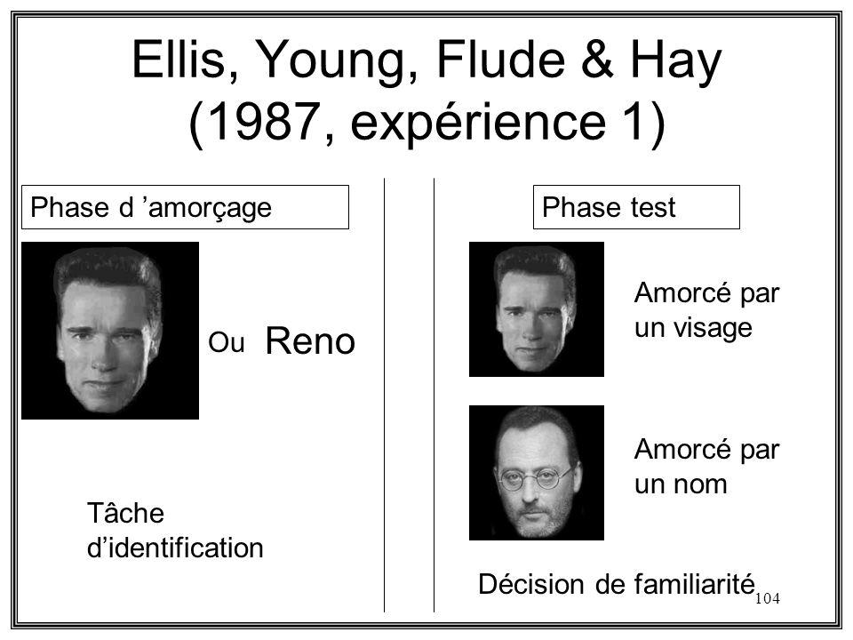 104 Ellis, Young, Flude & Hay (1987, expérience 1) Phase d amorçagePhase test Reno Amorcé par un visage Amorcé par un nom Ou Tâche didentification Déc