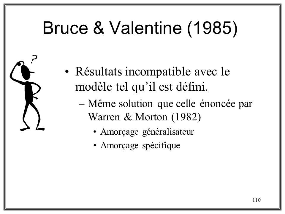 110 Bruce & Valentine (1985) Résultats incompatible avec le modèle tel quil est défini. –Même solution que celle énoncée par Warren & Morton (1982) Am