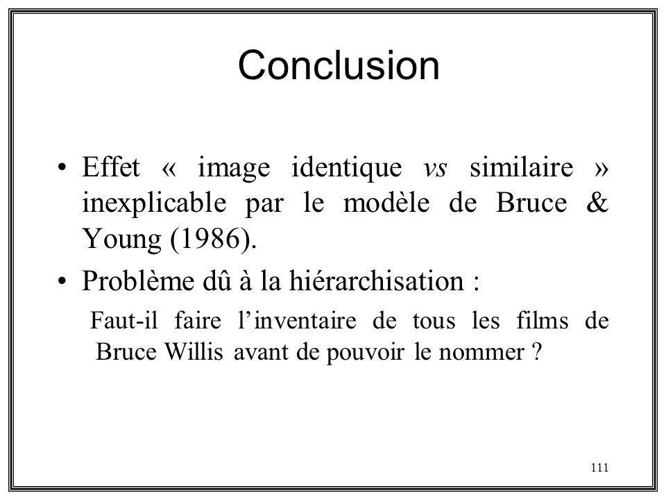 111 Conclusion Effet « image identique vs similaire » inexplicable par le modèle de Bruce & Young (1986). Problème dû à la hiérarchisation : Faut-il f