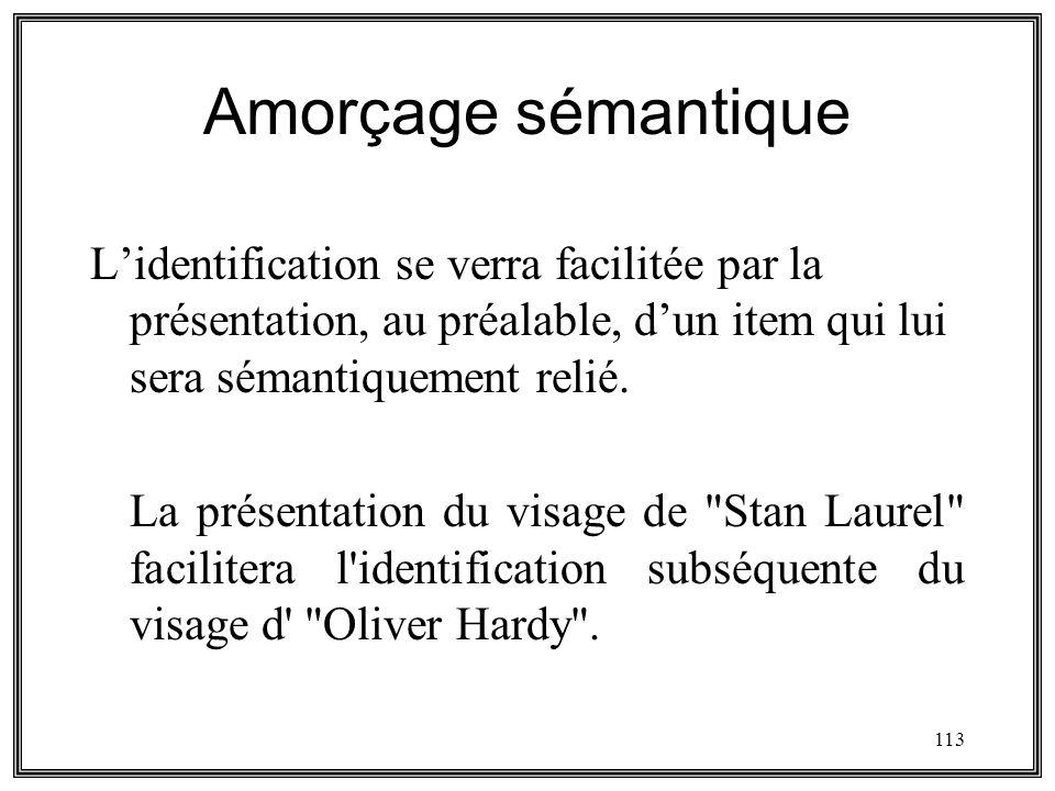 113 Amorçage sémantique Lidentification se verra facilitée par la présentation, au préalable, dun item qui lui sera sémantiquement relié. La présentat