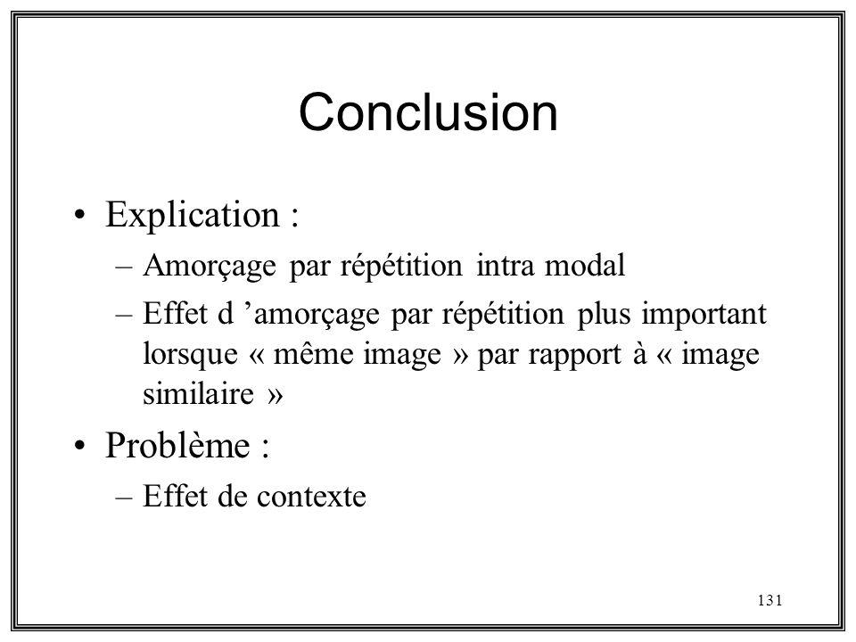 131 Conclusion Explication : –Amorçage par répétition intra modal –Effet d amorçage par répétition plus important lorsque « même image » par rapport à