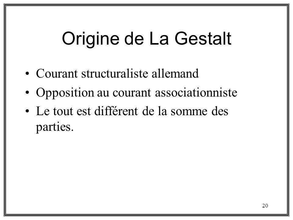 20 Origine de La Gestalt Courant structuraliste allemand Opposition au courant associationniste Le tout est différent de la somme des parties.