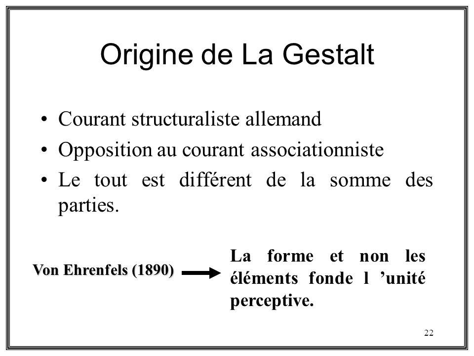 22 Origine de La Gestalt Courant structuraliste allemand Opposition au courant associationniste Le tout est différent de la somme des parties. Von Ehr