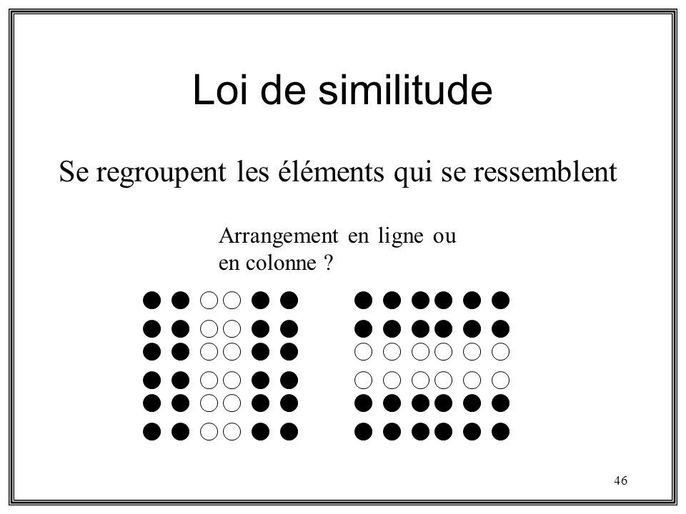 46 Loi de similitude Se regroupent les éléments qui se ressemblent Arrangement en ligne ou en colonne ?