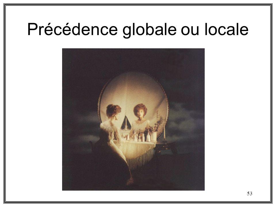 53 Précédence globale ou locale