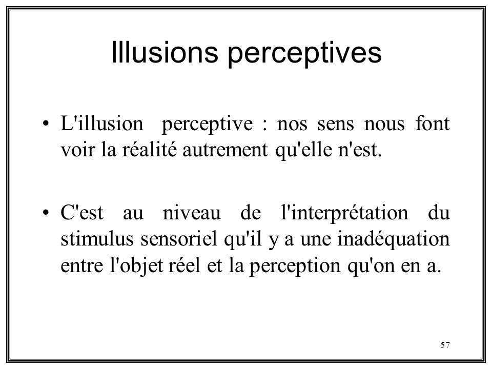 57 Illusions perceptives L'illusion perceptive : nos sens nous font voir la réalité autrement qu'elle n'est. C'est au niveau de l'interprétation du st