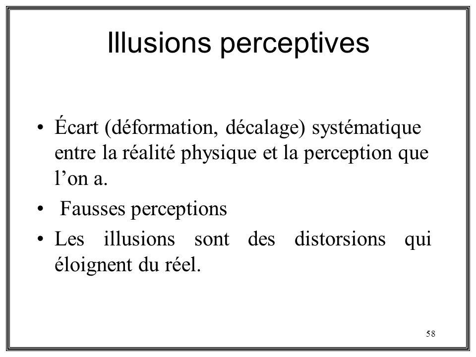 58 Illusions perceptives Écart (déformation, décalage) systématique entre la réalité physique et la perception que lon a. Fausses perceptions Les illu