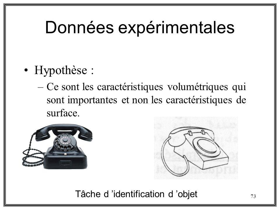 73 Données expérimentales Hypothèse : –Ce sont les caractéristiques volumétriques qui sont importantes et non les caractéristiques de surface. Tâche d