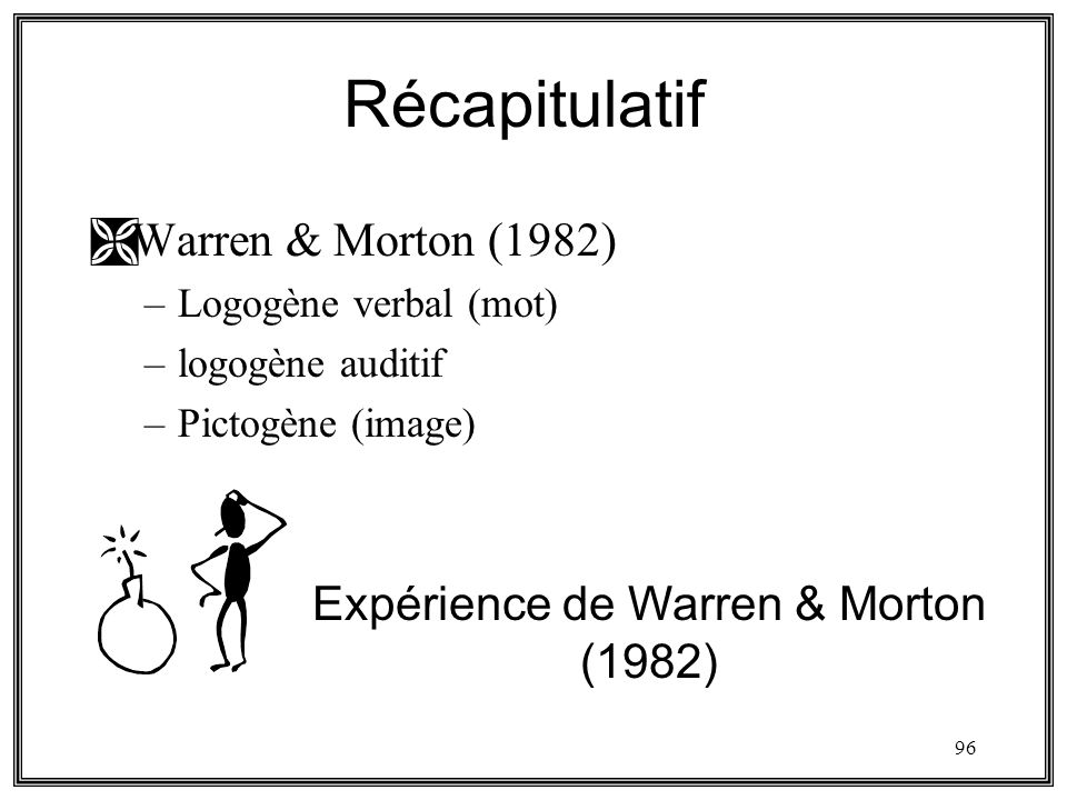 96 Récapitulatif ÌWarren & Morton (1982) –Logogène verbal (mot) –logogène auditif –Pictogène (image) Expérience de Warren & Morton (1982)