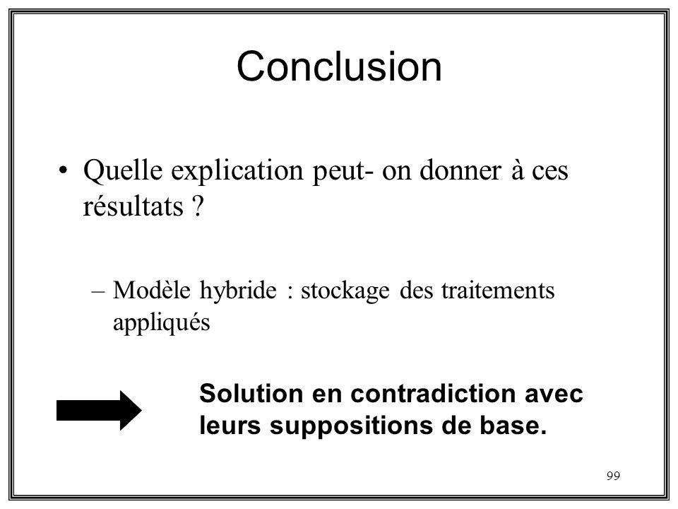 99 Conclusion Quelle explication peut- on donner à ces résultats ? –Modèle hybride : stockage des traitements appliqués Solution en contradiction avec