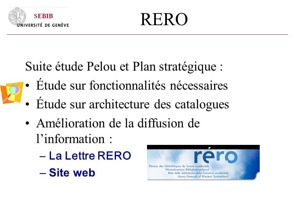 RERO Suite étude Pelou et Plan stratégique : Étude sur fonctionnalités nécessaires Étude sur architecture des catalogues Amélioration de la diffusion