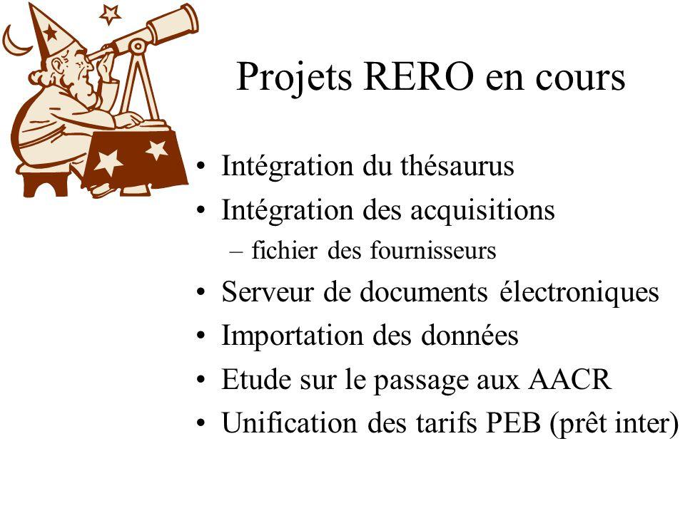 Projets RERO en cours Intégration du thésaurus Intégration des acquisitions –fichier des fournisseurs Serveur de documents électroniques Importation d