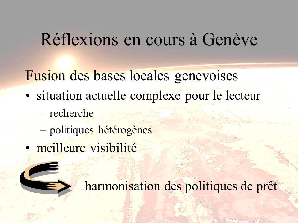 Réflexions en cours à Genève Fusion des bases locales genevoises situation actuelle complexe pour le lecteur –recherche –politiques hétérogènes meilleure visibilité harmonisation des politiques de prêt