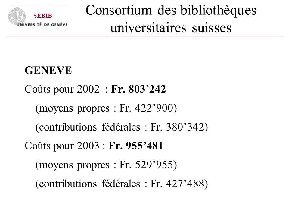 Consortium des bibliothèques universitaires suisses GENEVE Coûts pour 2002 : Fr. 803242 (moyens propres : Fr. 422900) (contributions fédérales : Fr. 3