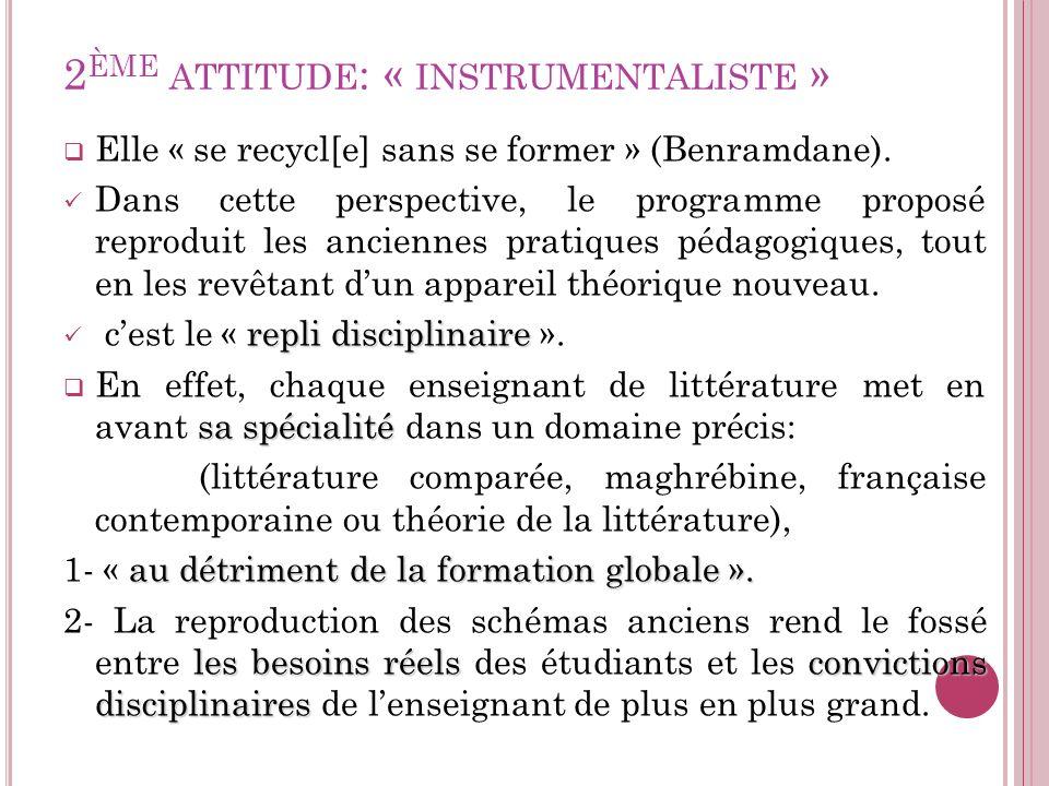 2 ÈME ATTITUDE : « INSTRUMENTALISTE » Elle « se recycl[e] sans se former » (Benramdane). Dans cette perspective, le programme proposé reproduit les an