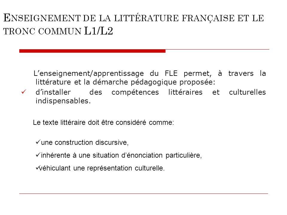 E NSEIGNEMENT DE LA LITTÉRATURE FRANÇAISE ET LE TRONC COMMUN L1/L2 Lenseignement/apprentissage du FLE permet, à travers la littérature et la démarche