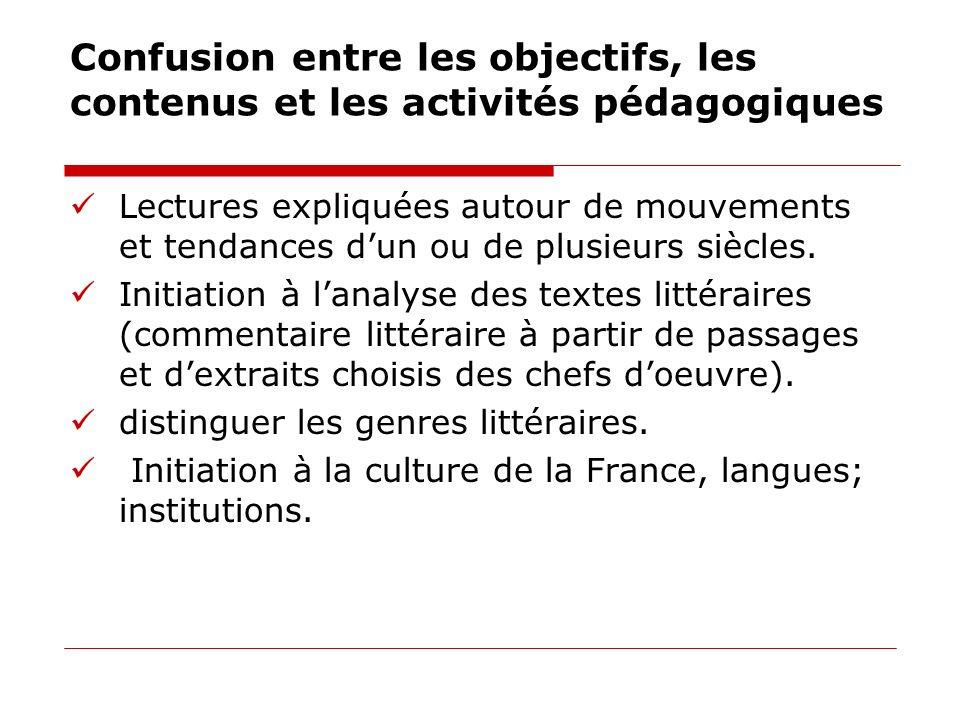 Confusion entre les objectifs, les contenus et les activités pédagogiques Lectures expliquées autour de mouvements et tendances dun ou de plusieurs si