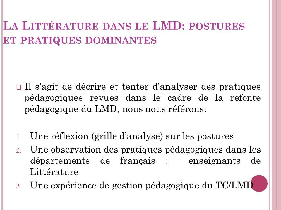 T ROIS ARTICULATIONS Une réflexion (grille sur les postures) F.Benramdane qui sest interrogé sur lenseignement des langues en Algérie, en comparant les deux systèmes scolaires et universitaires: Une observation pratiques pédagogiques mises en place par des collègues (enseignants de littérature) au département de français.