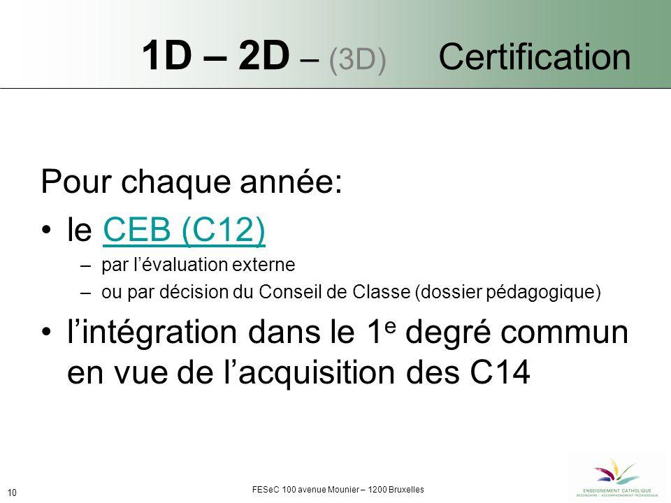 FESeC 100 avenue Mounier – 1200 Bruxelles 10 1D – 2D – (3D) Certification Pour chaque année: le CEB (C12)CEB (C12) –par lévaluation externe –ou par décision du Conseil de Classe (dossier pédagogique) lintégration dans le 1 e degré commun en vue de lacquisition des C14
