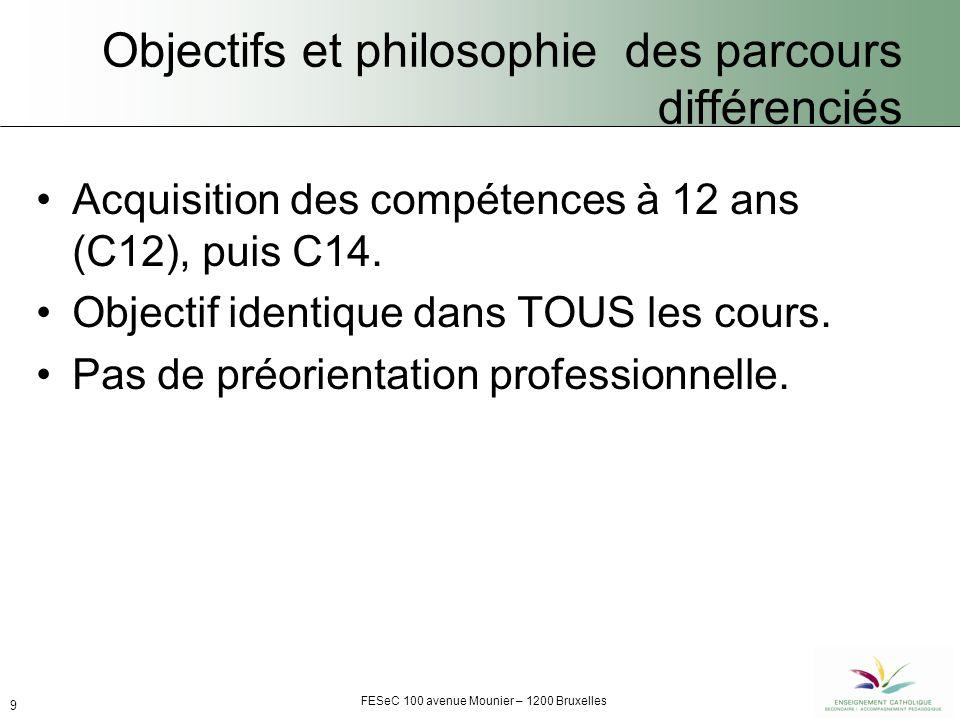 FESeC 100 avenue Mounier – 1200 Bruxelles 9 Objectifs et philosophie des parcours différenciés Acquisition des compétences à 12 ans (C12), puis C14.