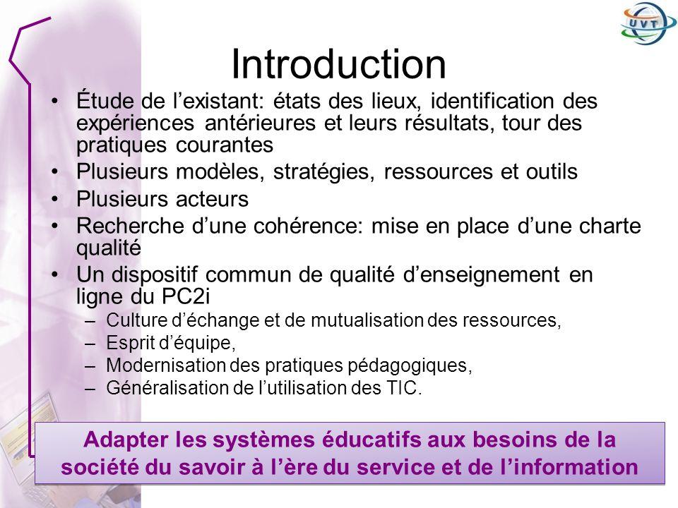 Objectifs de la charte 1.Une PC2i uniforme en Tunisie –Solution faisable –Prise en compte du contexte tunisien –Niveau déquipement des différents établissements –Implication des équipes pédagogiques 2.Des espaces de cours de qualité (activités dapprentissage, Ressources, activités dévaluation, QCM, outils de communication) 3.Consolidation dune culture e-learning dans lenseignement supérieur tunisien à travers le PC2i 4.Réflexion sur lamélioration des procédures de travail et de leur automatisation (inscription et récupération des résultats) Une démarche QUALITE Une stratégie nationale Une démarche QUALITE Une stratégie nationale