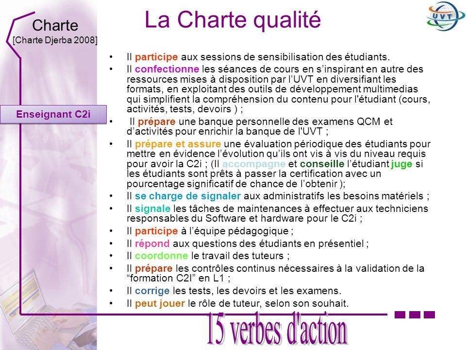 La Charte qualité Enseignant C2i Il participe aux sessions de sensibilisation des étudiants. Il confectionne les séances de cours en sinspirant en aut