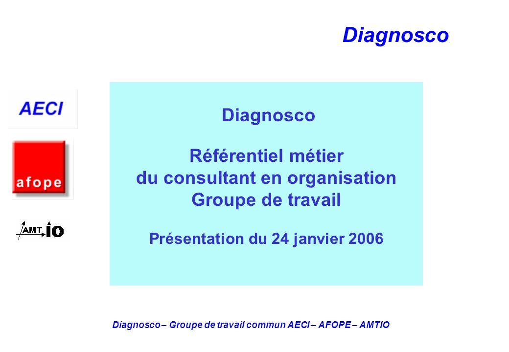 Diagnosco – Groupe de travail commun AECI – AFOPE – AMTIO Diagnosco Diagnosco Référentiel métier du consultant en organisation Groupe de travail Prése