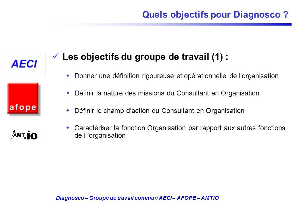 Diagnosco – Groupe de travail commun AECI – AFOPE – AMTIO Quels objectifs pour Diagnosco ? Les objectifs du groupe de travail (1) : Donner une définit