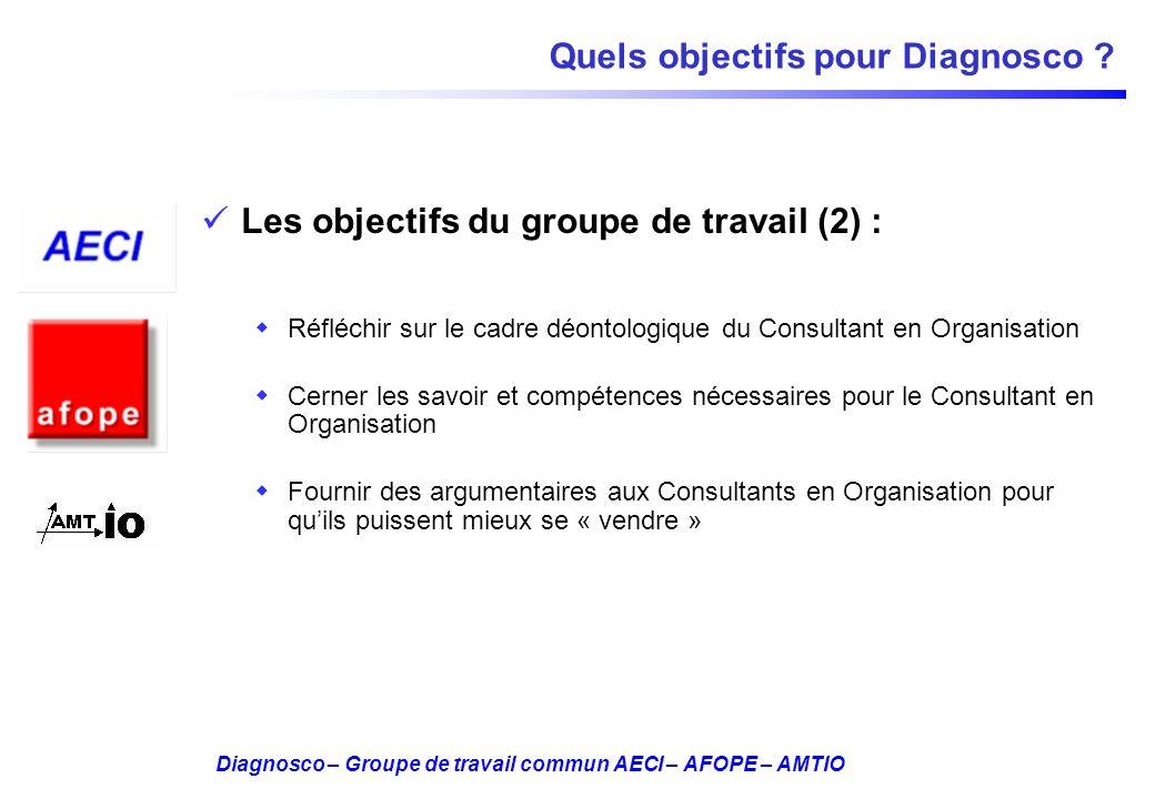 Diagnosco – Groupe de travail commun AECI – AFOPE – AMTIO Quels objectifs pour Diagnosco ? Les objectifs du groupe de travail (2) : Réfléchir sur le c