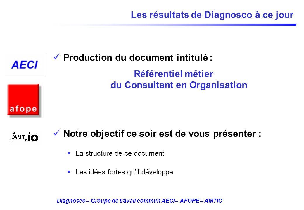 Diagnosco – Groupe de travail commun AECI – AFOPE – AMTIO Les résultats de Diagnosco à ce jour Production du document intitulé : Référentiel métier du