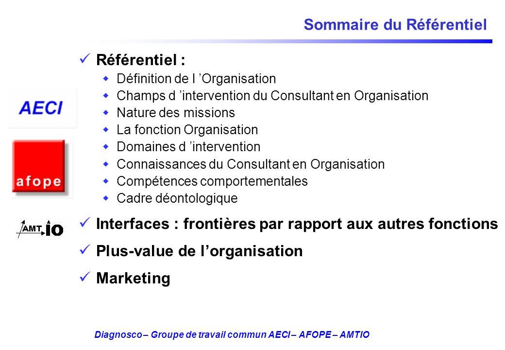 Diagnosco – Groupe de travail commun AECI – AFOPE – AMTIO Sommaire du Référentiel Référentiel : Définition de l Organisation Champs d intervention du