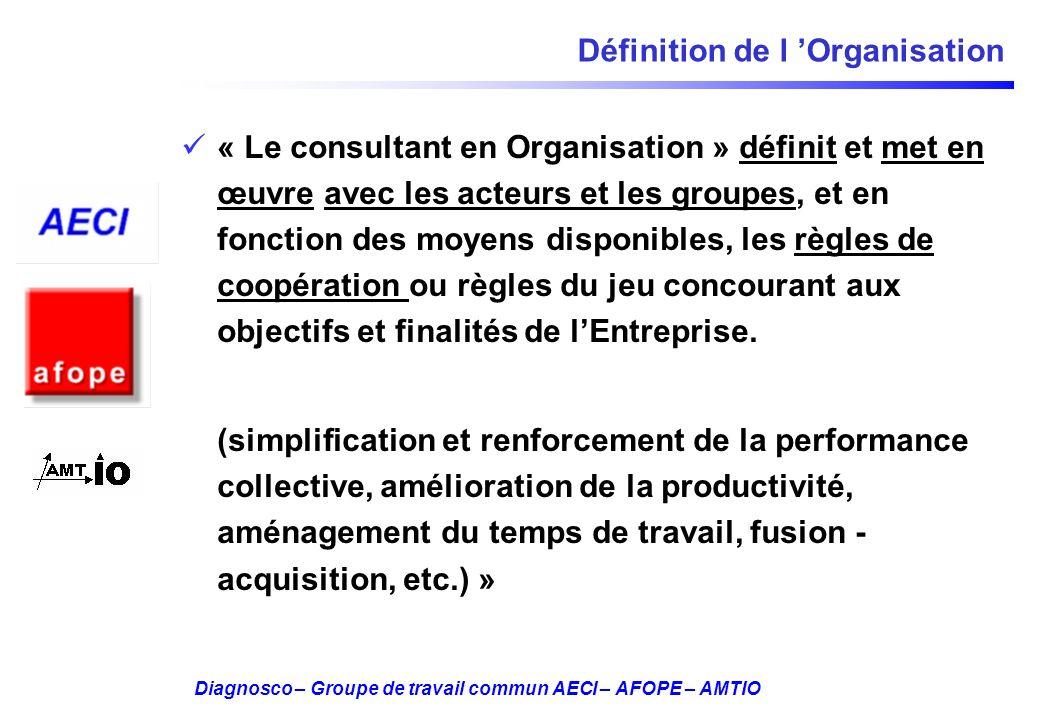 Diagnosco – Groupe de travail commun AECI – AFOPE – AMTIO Définition de l Organisation « Le consultant en Organisation » définit et met en œuvre avec