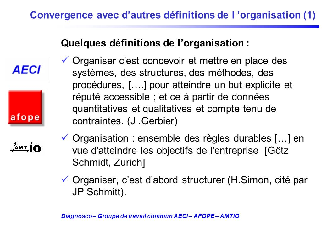 Diagnosco – Groupe de travail commun AECI – AFOPE – AMTIO Convergence avec dautres définitions de l organisation (1) Quelques définitions de lorganisa