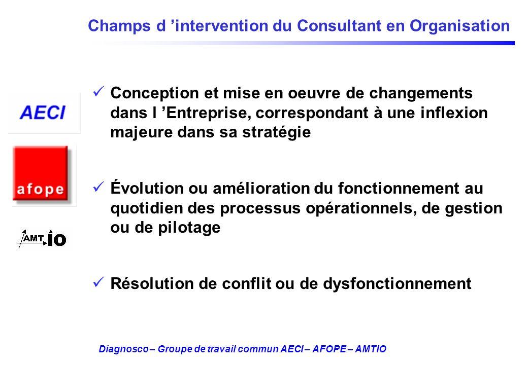 Diagnosco – Groupe de travail commun AECI – AFOPE – AMTIO Champs d intervention du Consultant en Organisation Conception et mise en oeuvre de changeme