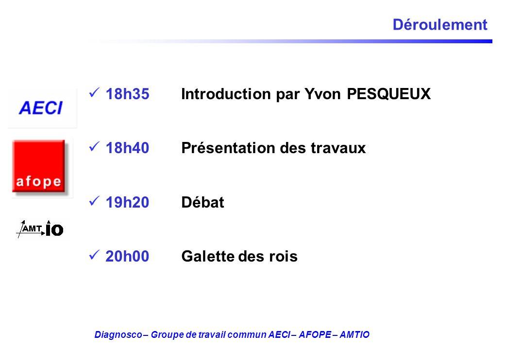 Diagnosco – Groupe de travail commun AECI – AFOPE – AMTIO Déroulement 18h35 Introduction par Yvon PESQUEUX 18h40 Présentation des travaux 19h20 Débat