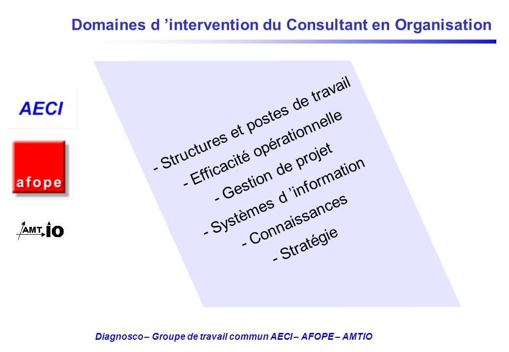 Diagnosco – Groupe de travail commun AECI – AFOPE – AMTIO Domaines d intervention du Consultant en Organisation - Structures et postes de travail - Ef