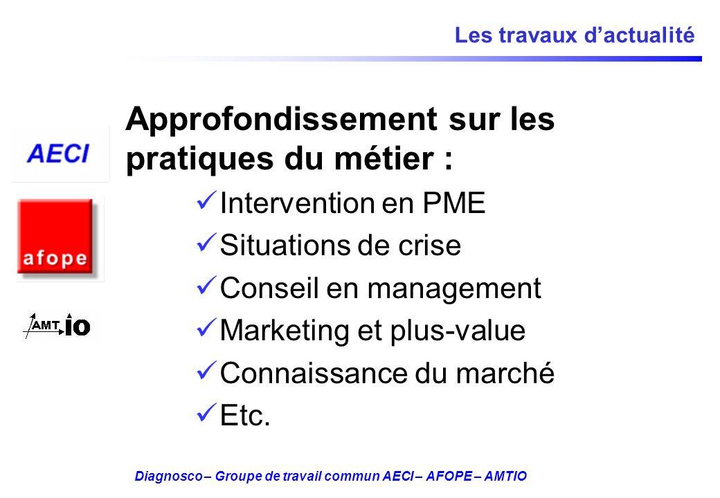 Diagnosco – Groupe de travail commun AECI – AFOPE – AMTIO Les travaux dactualité Approfondissement sur les pratiques du métier : Intervention en PME S