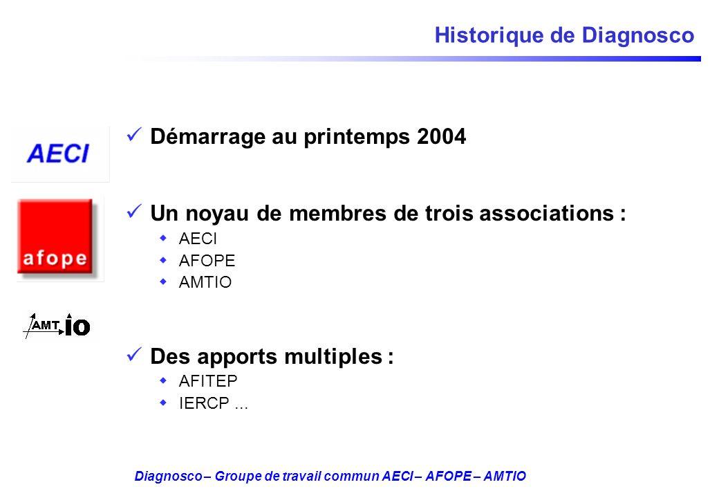 Diagnosco – Groupe de travail commun AECI – AFOPE – AMTIO Historique de Diagnosco Démarrage au printemps 2004 Un noyau de membres de trois association
