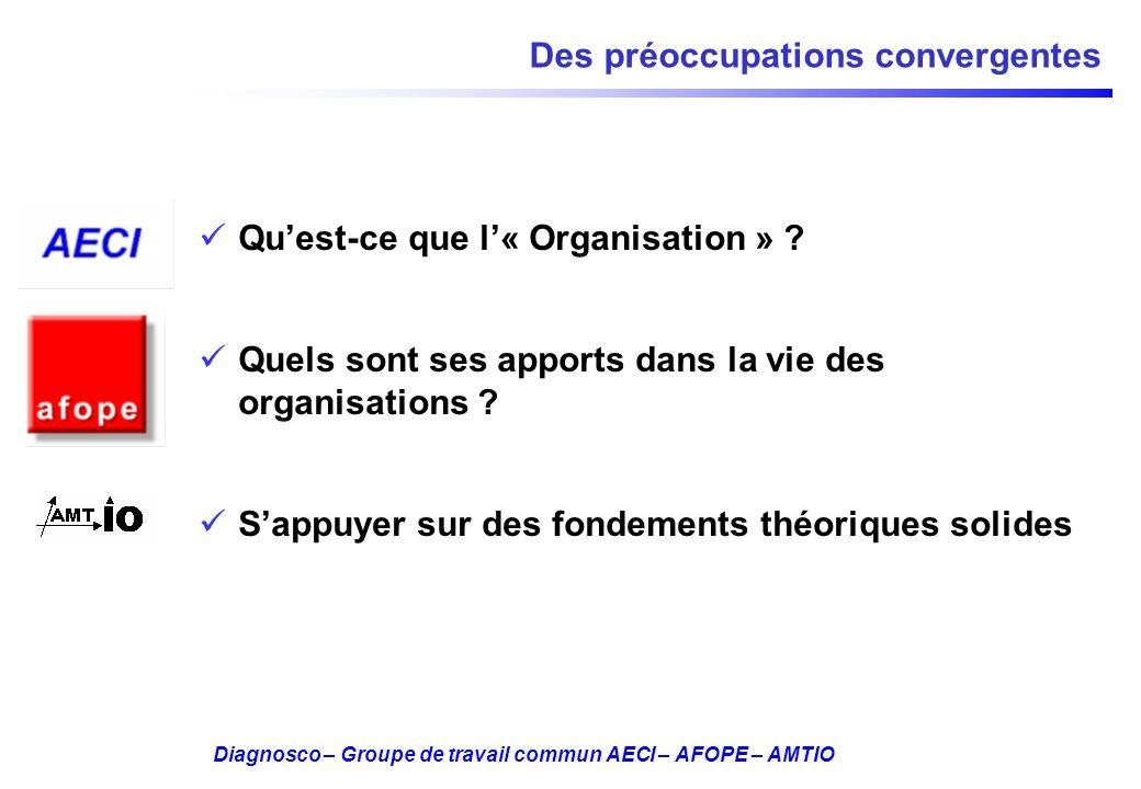Diagnosco – Groupe de travail commun AECI – AFOPE – AMTIO Des préoccupations convergentes Quest-ce que l« Organisation » ? Quels sont ses apports dans