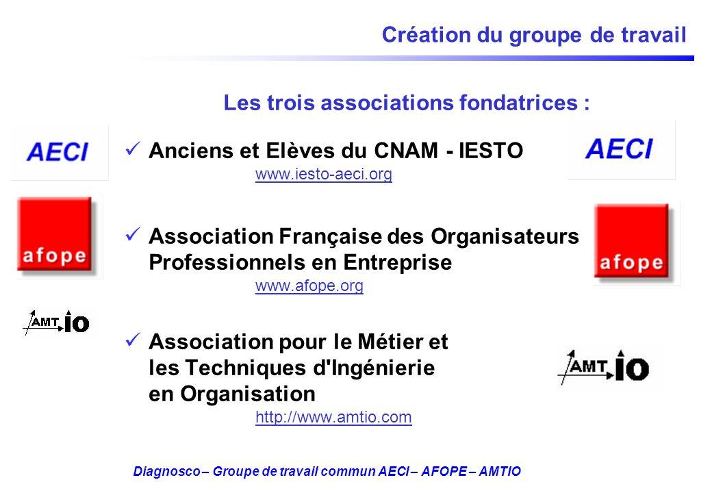 Diagnosco – Groupe de travail commun AECI – AFOPE – AMTIO Création du groupe de travail Les trois associations fondatrices : Anciens et Elèves du CNAM