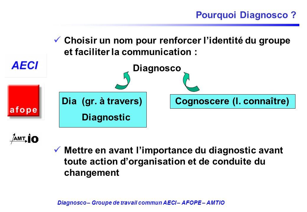 Diagnosco – Groupe de travail commun AECI – AFOPE – AMTIO Pourquoi Diagnosco ? Choisir un nom pour renforcer lidentité du groupe et faciliter la commu