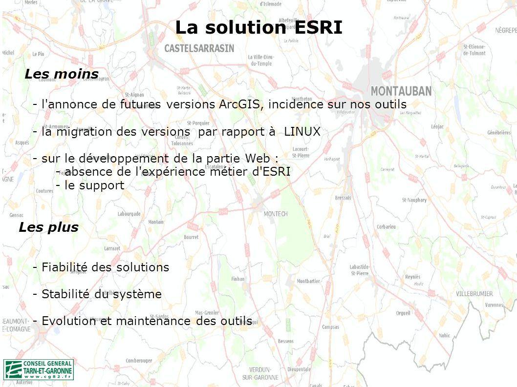 La solution ESRI Les moins Les plus - l annonce de futures versions ArcGIS, incidence sur nos outils - la migration des versions par rapport à LINUX - sur le développement de la partie Web : - absence de l expérience métier d ESRI - le support - Fiabilité des solutions - Stabilité du système - Evolution et maintenance des outils