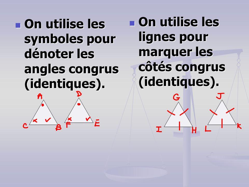 On utilise les symboles pour dénoter les angles congrus (identiques).