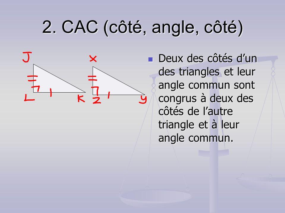 2. CAC (côté, angle, côté) Deux des côtés dun des triangles et leur angle commun sont congrus à deux des côtés de lautre triangle et à leur angle comm