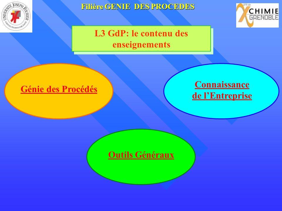 L3 GdP: le contenu des enseignements Connaissance de lEntreprise Génie des Procédés Outils Généraux FilièreGENIE DES PROCEDES Filière GENIE DES PROCEDES
