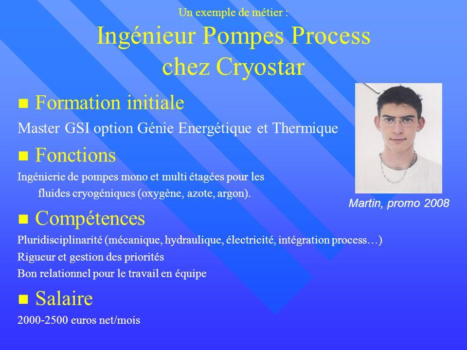 Un exemple de métier : Ingénieur Pompes Process chez Cryostar Formation initiale Master GSI option Génie Energétique et Thermique Fonctions Ingénierie de pompes mono et multi étagées pour les fluides cryogéniques (oxygène, azote, argon).