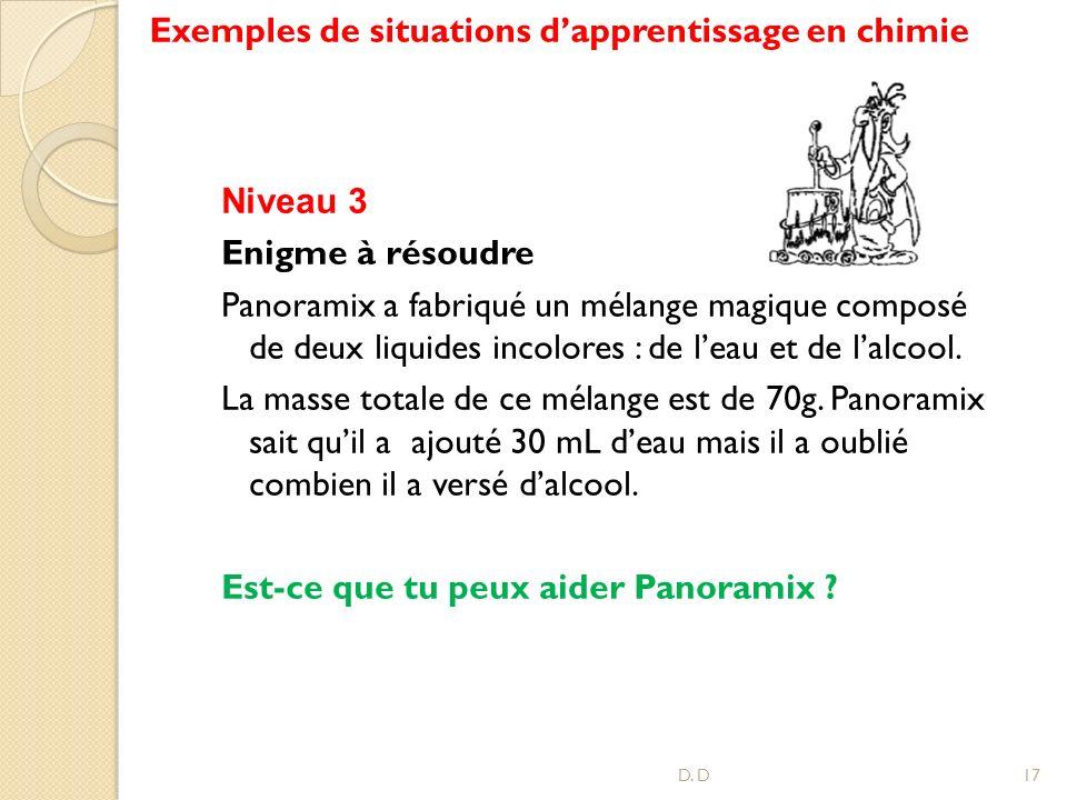 Exemples de situations dapprentissage en chimie D. D17 Niveau 3 Enigme à résoudre Panoramix a fabriqué un mélange magique composé de deux liquides inc