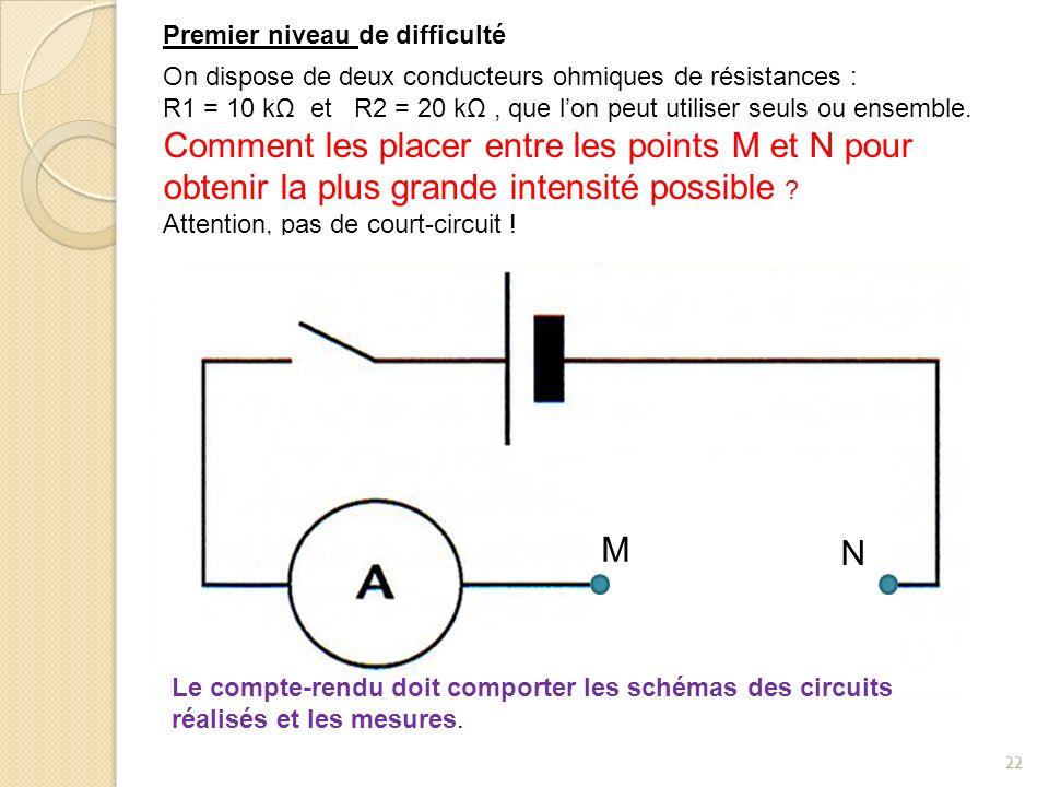 22 R2 On dispose de deux conducteurs ohmiques de résistances : R1 = 10 kΩ et R2 = 20 kΩ, que lon peut utiliser seuls ou ensemble.